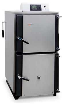 DOMUSA modelo Lignum IB 40 caldera de gasificación de leña de 40 Kw. de llama invertida de alto rendimiento solo calefacción, modulación electrónica, autonomia de carga de hasta siete horas, el ventilador de la caldera modula ajustando la potencia generad