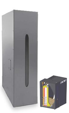 DOMUSA modelo Depósito de reserva con acumulador ACS inox. HTP 130-200 (200 kg.pellet-150 litros ACS) caldera para biomasa para pellets