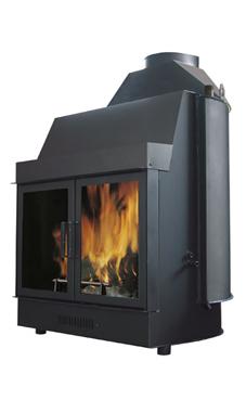EDILKAMIN IDRO 100 de 27 Kw.salida humos hembra Ø 25 cm. Chimena de agua con estructura de acero de gran espesor. Con mecanismo automático de humos by-pass, cristal cerámico resitente a 800º C y registro de regulación de aire de combustión.